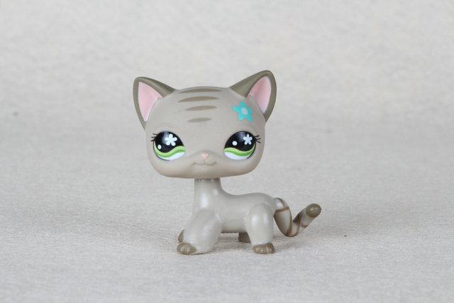 Mascota adorable Colección Original #483 Gris A Rayas Gatito Gato de Pelo Corto Ojos Verdes Juguetes LPS