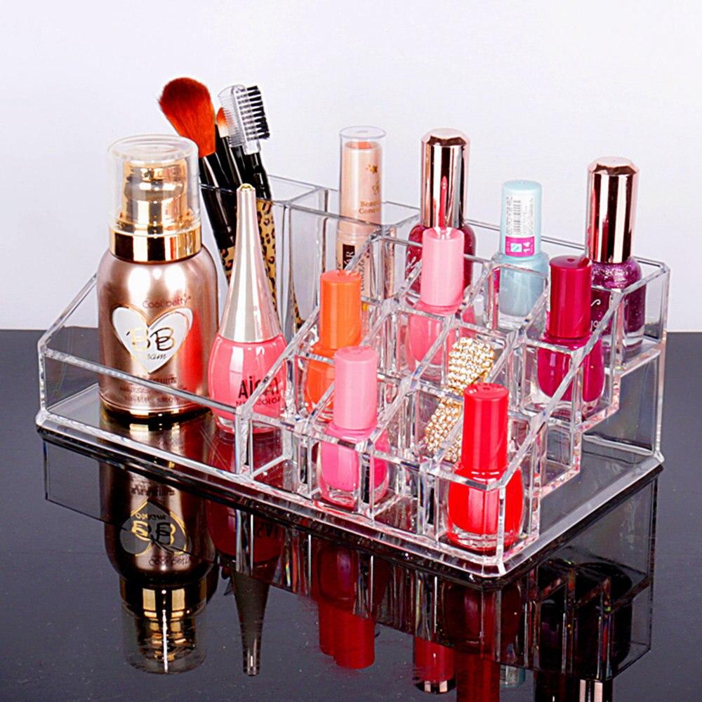 Crystal Acrylic Lipstick Nail Polish Desktop Storage Box Transparent Plastic Jewelry Makeup Cosmetic Organizer Special Gift