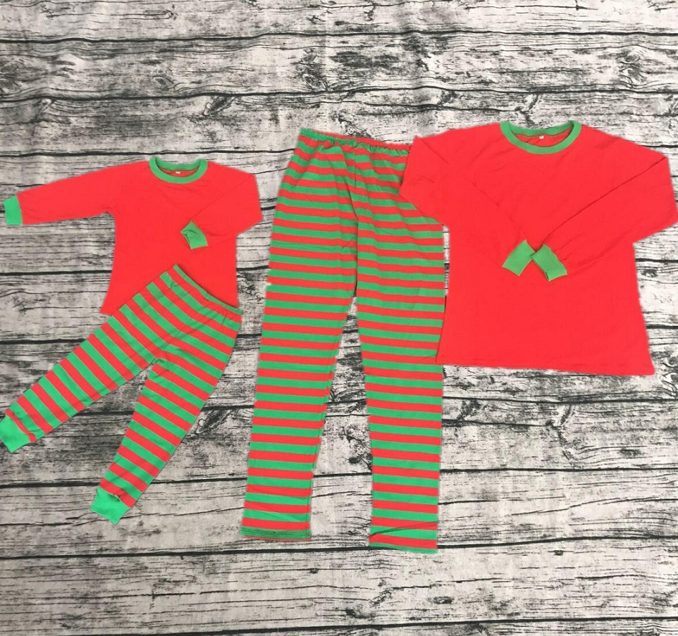 boutique kids clothing kids pajamas adult pajamas green & red stripes pant red long sleeve top two pieces outfits Christmas sets