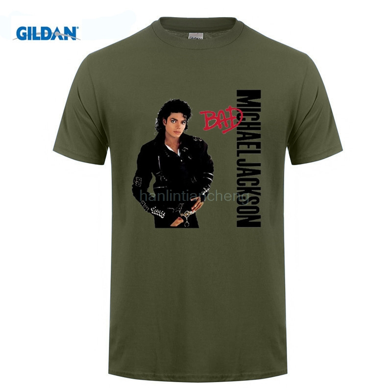 33f6238b8 GILDAN mens t shirts T Shirt Men Tees Brand Clothing Funny Michael Jackson  Bad Graphic T Shirts For Men Crew Neck-in T-Shirts from Men's Clothing on  ...
