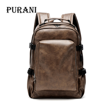 PURANI NEW Men's Backpack Simple High Quality Leather Backpack Male Leather Fashion Trend Youth Leisure Travel Computer Bagpack