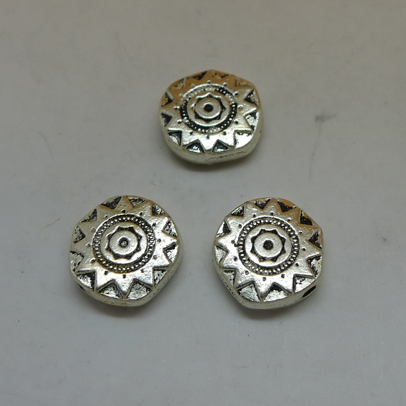 Free shipping Jewelry components Antique Silver alloy Sun Flower Flat beads 10Pcs Small Hole Beads 10x10mm