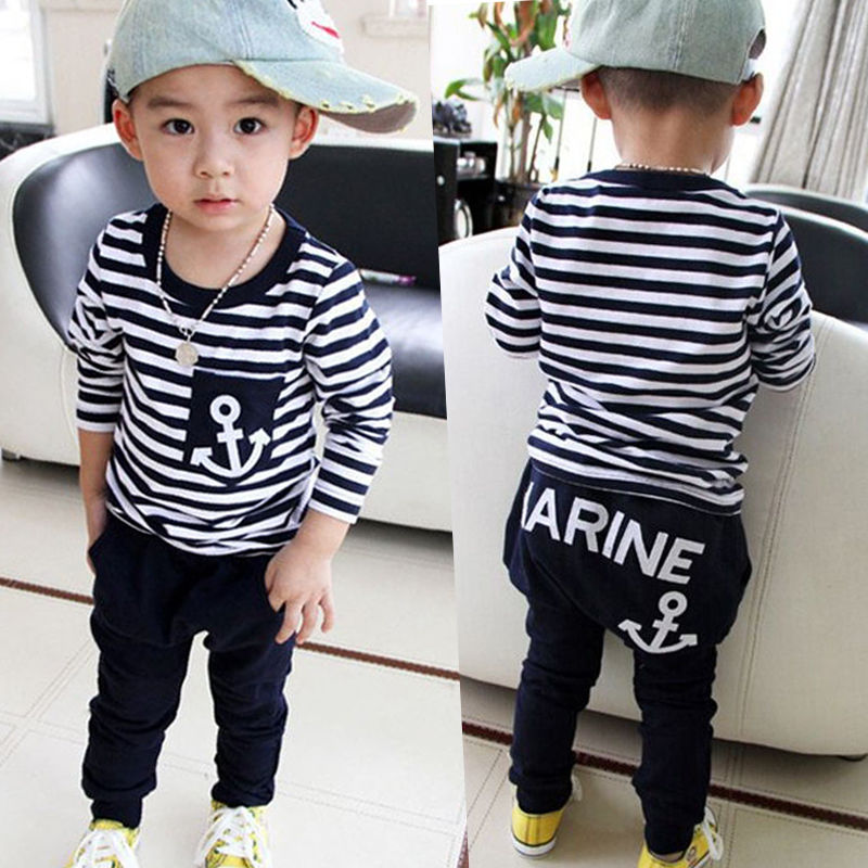 Toddler Kids Baby Boys Clothing Sets T-shirt Tops Long Sleeve Striped Anchor Long Pants Trousers Outfits Clothes Set 2pcs boys clothes brand 2017 autumn boys gentleman set baby boys striped long sleeve shirt denim long overalls pants 2pcs sets 4