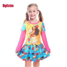 Princess Girls Dress Long Sleeve 2017 Autumn Brand Children Christmas Moana Dress Vaiana Printed Kids Dresses for Girls Clothing