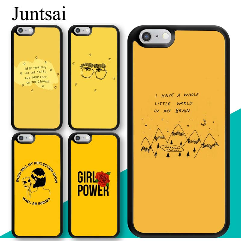 Juntsai Yellow Aesthetic illustration Cell Phone Case For Apple iPhone X 8 7 Plus 6 6s 5 5s SE Hard PC TPU Case Back Cover Capa ...
