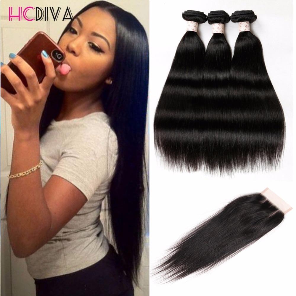 Hair Weft & Closure ( & Bang): 4 Bundles Malaysian Straight Hair With Closure Hair With Closure And Bundles Cheap Human Hair With Closure Piece