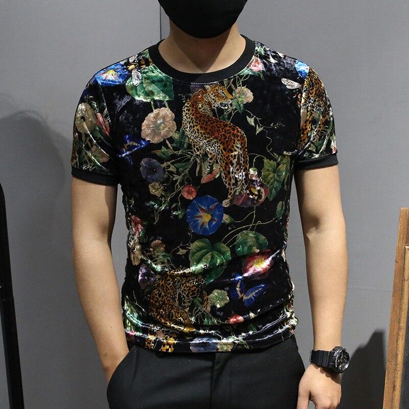Velours T Chemises Hommes Animal t-shirt imprimé Hommes Noir Club Chemise Tigre Nouveaux Produits 2019 De Mode Fleurs Playeras De Hombre