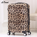 Letrend New Fashion Leopard Rolling Luggage Euramerican Trolley Case Travel Bag 20 inch Boarding Bag Trunk 24 28' Women Suitcase