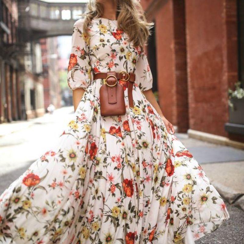 Femmes robe élégante longue décontracté femmes à la mode robes de grande taille plage dames Vestido imprimer robe florale avec haut à manches
