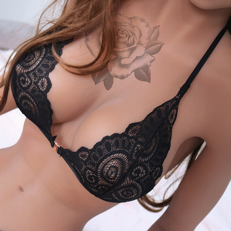 1 Pcs Sexy Exotic Lace Lingerie Transparent Openwork Emotional Chest Buckle Elastic Back Vertical Tie Women Bra