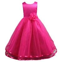 Teenage Princess Girls Rose Red Gold Dress O Neck Sleeveless Flowers Kids Party Wedding Dresses For
