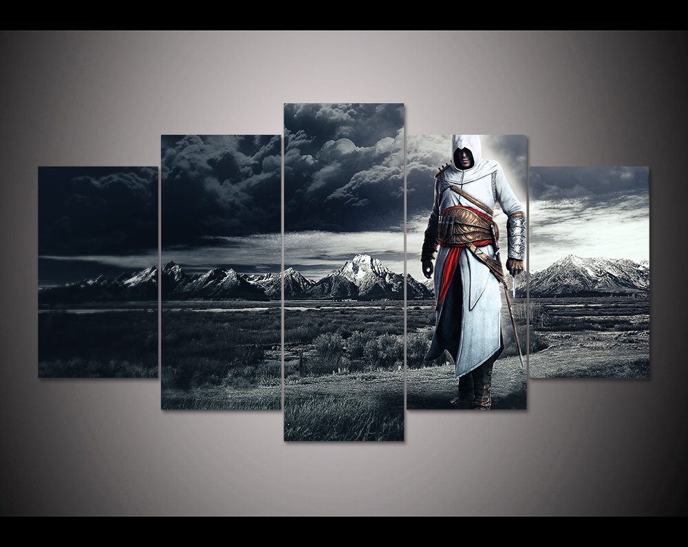 Buy hd print 5 panels canvas art altair clouds assassins creed painting modern Home decor survivor 6