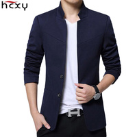 HCXY 2019 Men's Blazer Men High Quality Casual Suit Jacket Male Standing Collar Blazers for men Slim Fit solid smooth fabric