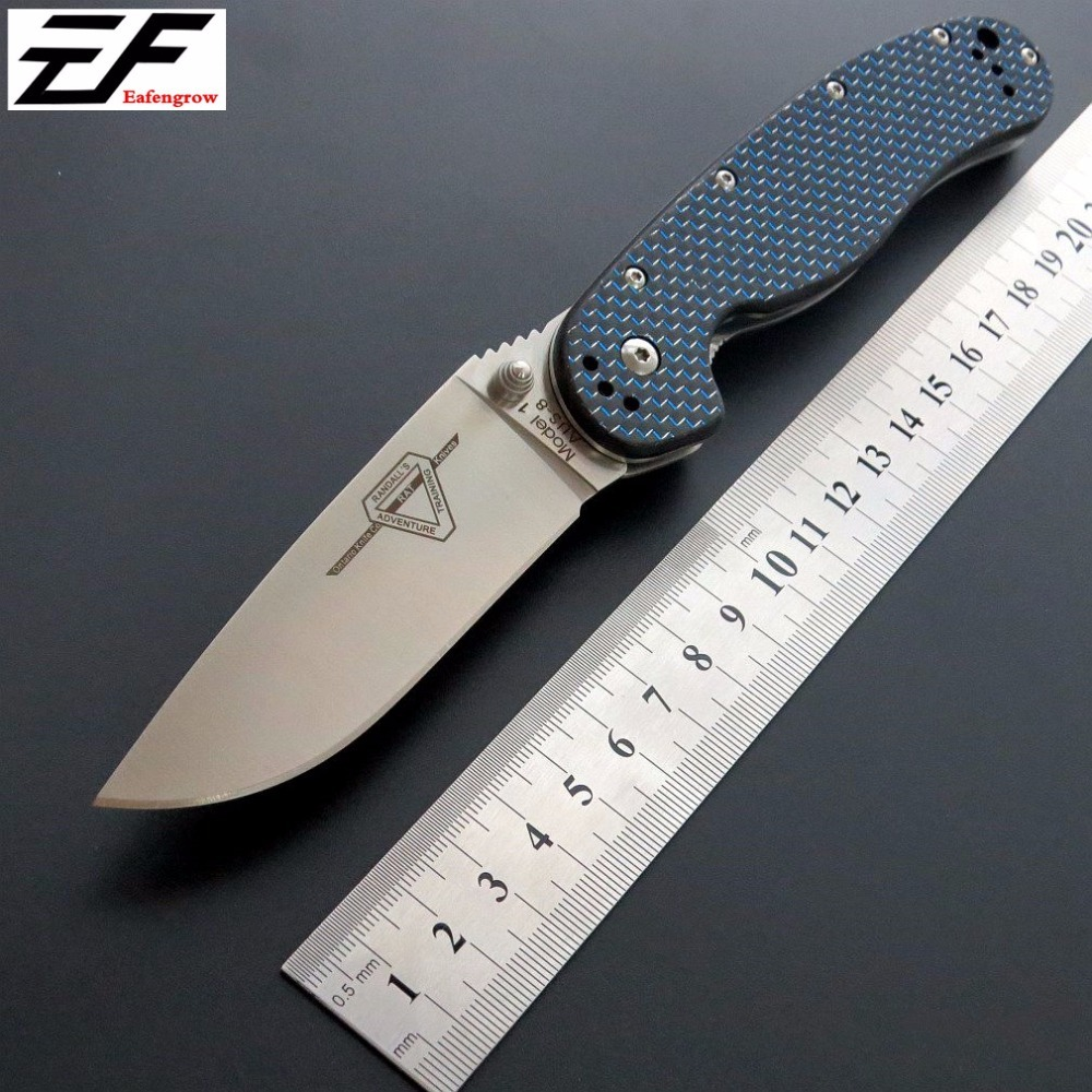 Date RAT Pliant Lame Couteau AUS-8 Lame En Acier couteau de Poche En Fiber De Carbone Poignée Tactique Couteau de Survie Camping Outil Couteaux