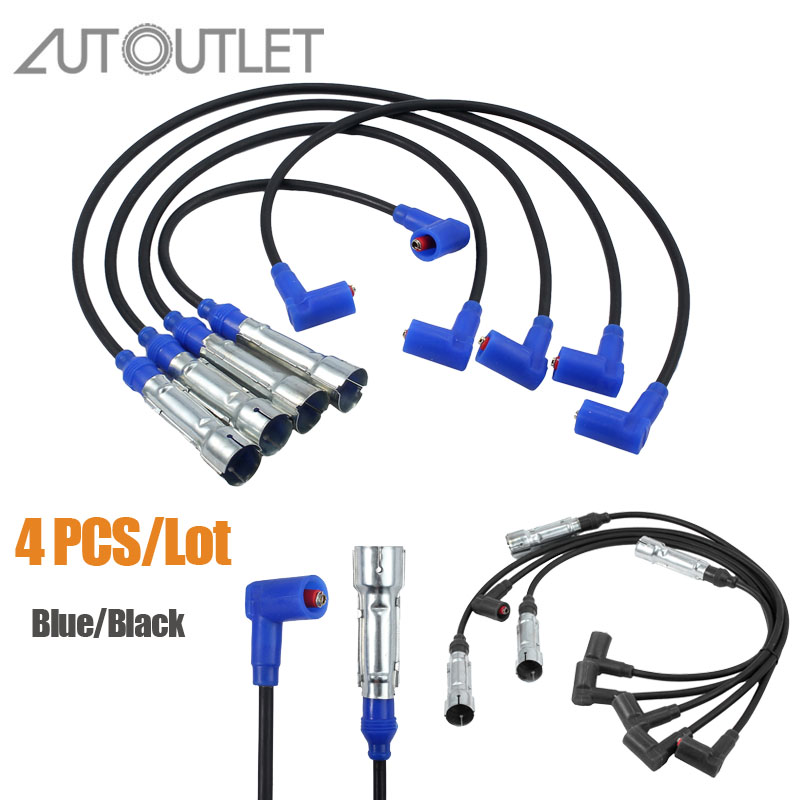 AUTOUTLET 4pcs For Ignition Cables FOR 032905483G 059998031 803998031 IGNITION KIT Black /Blue