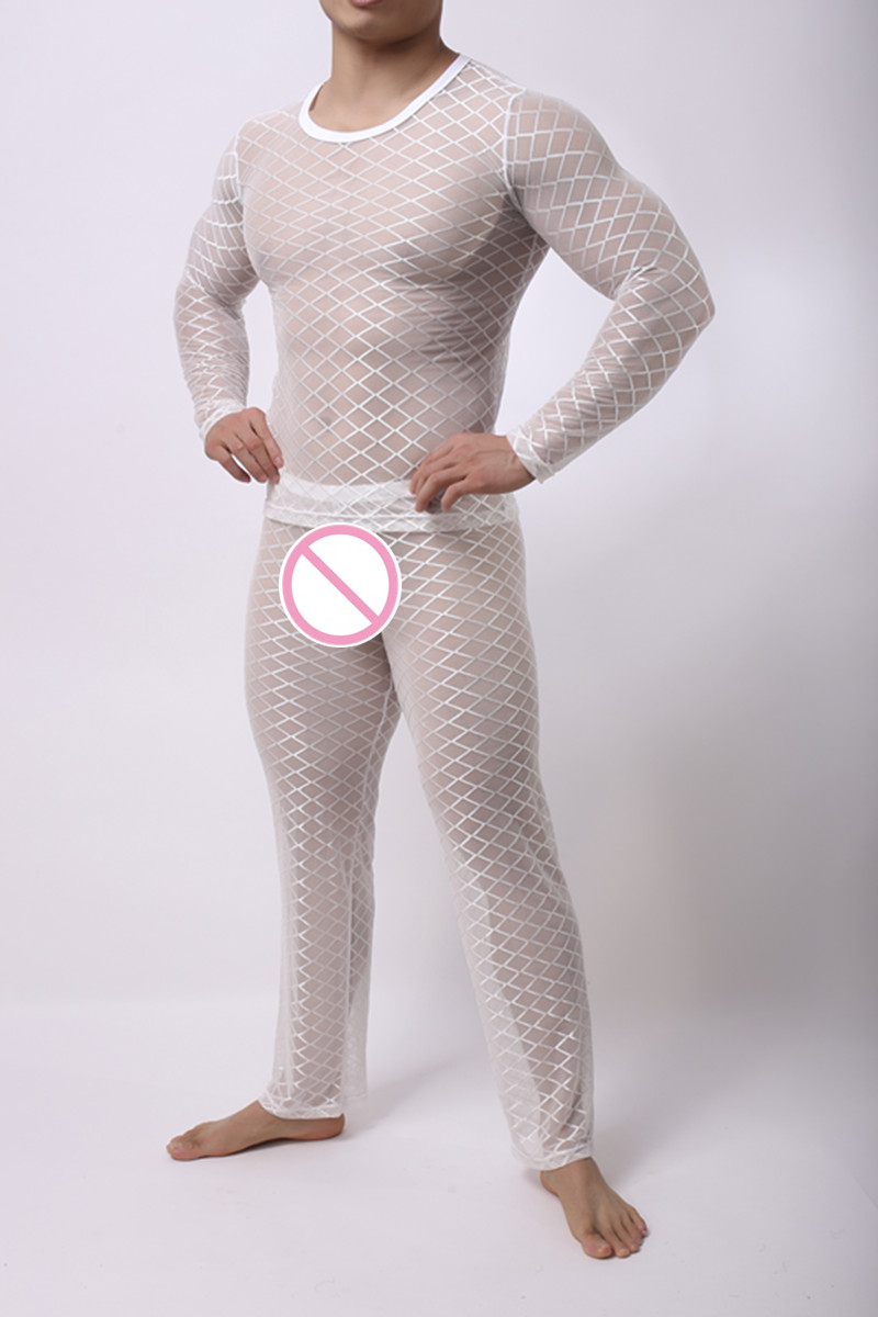 Fashion Mens Mesh Argyle Transparent Sleep Pajama Sets Sexy Bodybuilding Short T Shirts And Long Pants Men's Sleep & Lounge