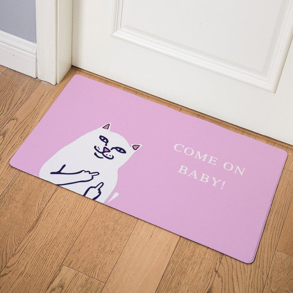 Image 2 - Cartoon Animal Cat Go Away Printing Doormat Home Decoration Non slip Floor Mat Cat Door Mat  Tapis de bain felpudo PU-in Mat from Home & Garden
