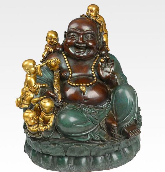 12 China Bronze Happy Boy Maitreya Buddha Ruyi Hand Hold Bead Statue R0713 (B0328)