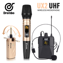 лучшая цена Drembo 2channel protable wireless microphone with handheld or Lavalier & Headset Mic UHF Frequency Adjustable for karaoke