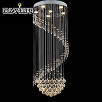 Modern Spiral LED Crystal Ceiling Lights Large Staircase Indoor Lustres Flush Mount Long Stair Lamps Hotel