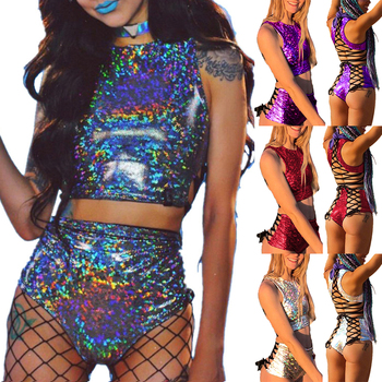 fashion Queen Holographic Crop Top and Hot Shorts Two Piece Set Sexy Lace Up Festival Party Rave Clothing Women 2 Piece Sets 1