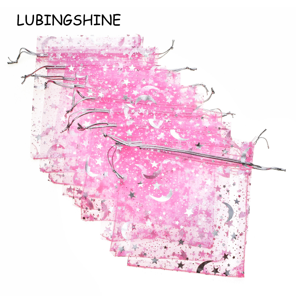 LUBINGSHINE 50PCS Wholesale Jewelry Packaging Display Pouches 9x12 Cm Christmas Wedding Candy Gift Bag Bracelet Organza Bags