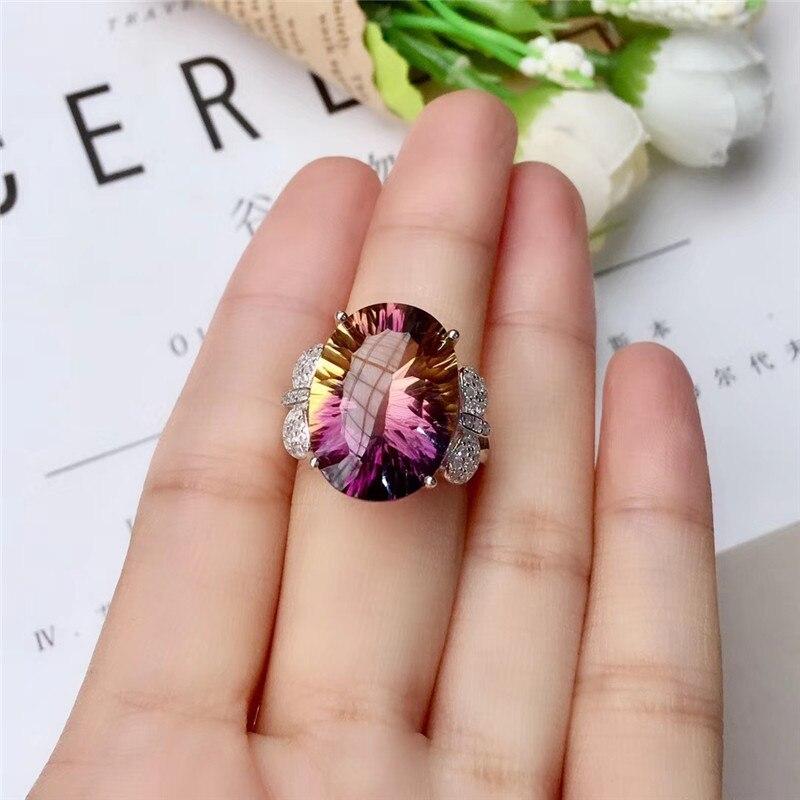 WEAINY 925 argent Sterling mode 12*16mm amétrine naturelle bague femmes bijoux Super belle améthyste bijoux - 5