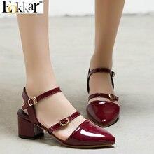 Eokkar 2019 femmes pompes bout pointu en cuir verni Mary Janes chaussures femmes bride à la cheville pompes à talons carrés dames pompes taille 34-45
