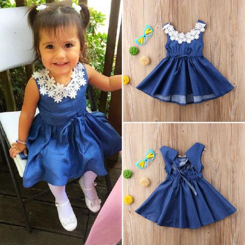 03f6b27b37c3 2018 New Floral Jeans Dresses Kids Baby Girls Summer Lace Denim ...