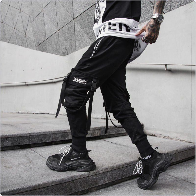 Streetwear Harem Pants Men Cotton Black Hip Hop Mens Joggers Pants Casual Slim Side-pocket Ribbons Spring Sweatpants Cargo Pants