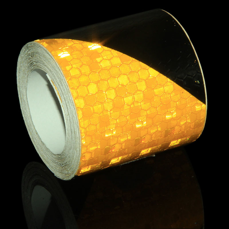 3M Reflecting Tape Stickers For Moto Honeycomb Motorcycle Stickers Trailer Cars Yellow Black Reflective Tape Self Adhesive Decal