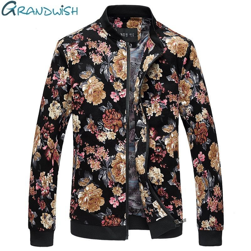 Grandwish New 2018 Fashion Floral Jacket Men Plus Size 6XL Men Floral Jacket Stand Collar Chaquetas Hombres Jaquetas Bombe,DA644 ...