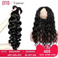 Свободная волна 3 натуральные волосы комплект s с синтетическое закрытие волос 360 синтетический Frontal шнурка с комплект шт. 4 шт. бразильский в