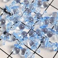 50 stuks Nieuwe Leuke Fopspenen Roze Blauw Transparant Mini Fopspenen voor Jongen Meisje Baby Shower Party Favor Cake Decoratie DIY levert