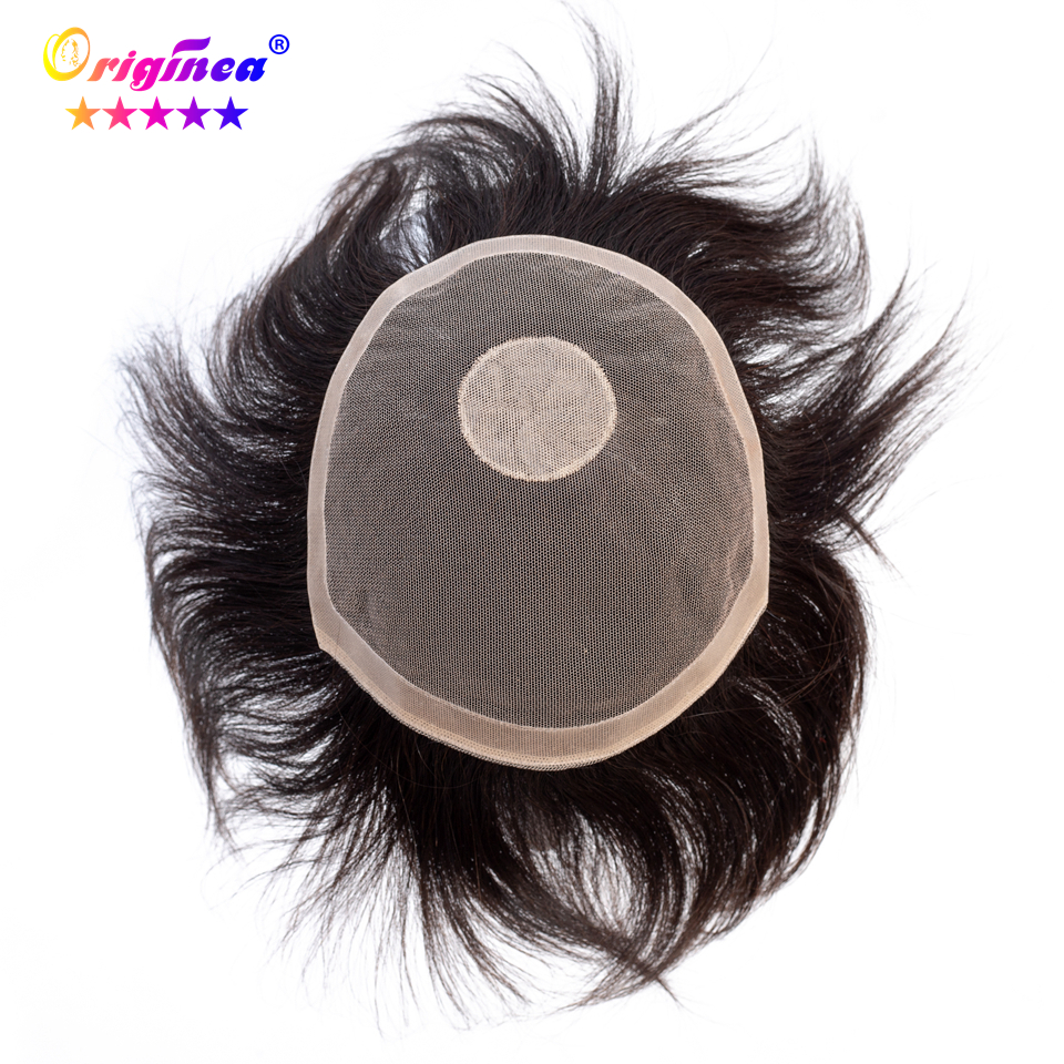 Originea Human Hair Toupee for Men 6 inch Hair 100% Brazilian Remy Human Hair Toupee Replacement System Natural Black Color