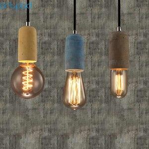 Image 5 - Artpad الصناعية الرجعية مصباح ذو قلادة أسمنتية المطبخ الحمام غرفة الطعام الممر LED ملموسة قلادة مصباح E27 اديسون قاعدة حامل