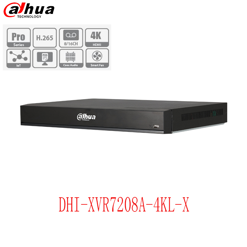 Dahua XVR 4K 7208A-4KL-X 4K 1U Digital Video Recorder Supports HDCVI/AHD/TVI/CVBS/IP video inputs H.265+/H.265IoT & POS function dahua xvr video recorder 16ch 1080p replace nvr and dvr dh xvr7216an p2p support hdcvi ahd tvi cvbs ip 1u digital video recor