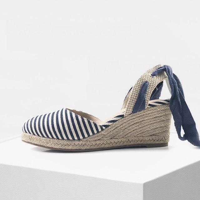 Altezza Donne Con Zeppa Delle Sandali Tela Scarpe Di rO8rB45q