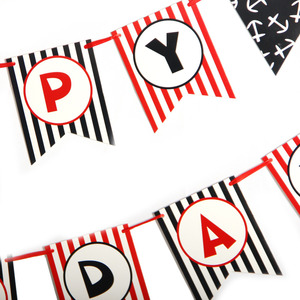 Image 4 - Pirate Happy Birthday Banner Pirate Theme Polka Dots Striped Printed Pirate Party Pirate Banner Photo Prop Happy First Birthday