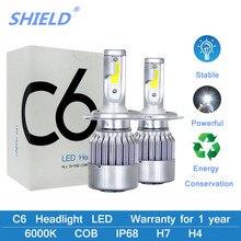 C6 светодиодный H4 светодиодный H1 H3 H11 9005 9006 H7 H27 880 9004 h13 луч светодиодный головной светильник лампы Светильник лампы 12V 6000K IP68 COB авто светодиодный лампа