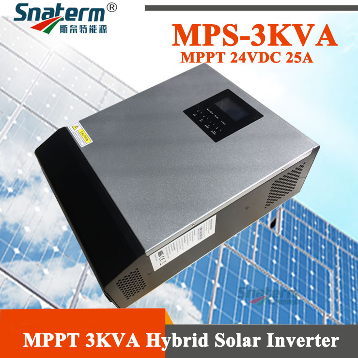 Hot!!! 3KVA/2400W MPPT Hybrid Inverter Pure Sine wave integrated with AC Charger 30A+24VDC 25A MPPT Solar Charge Controllers