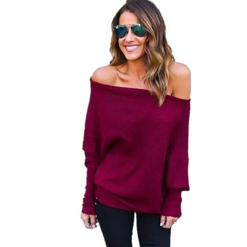 New Fashion Off One Shoulder Blouse Women Batwing Sleeve Autumn Slash Neck White Shirts Casual Knitted Pullover Tops
