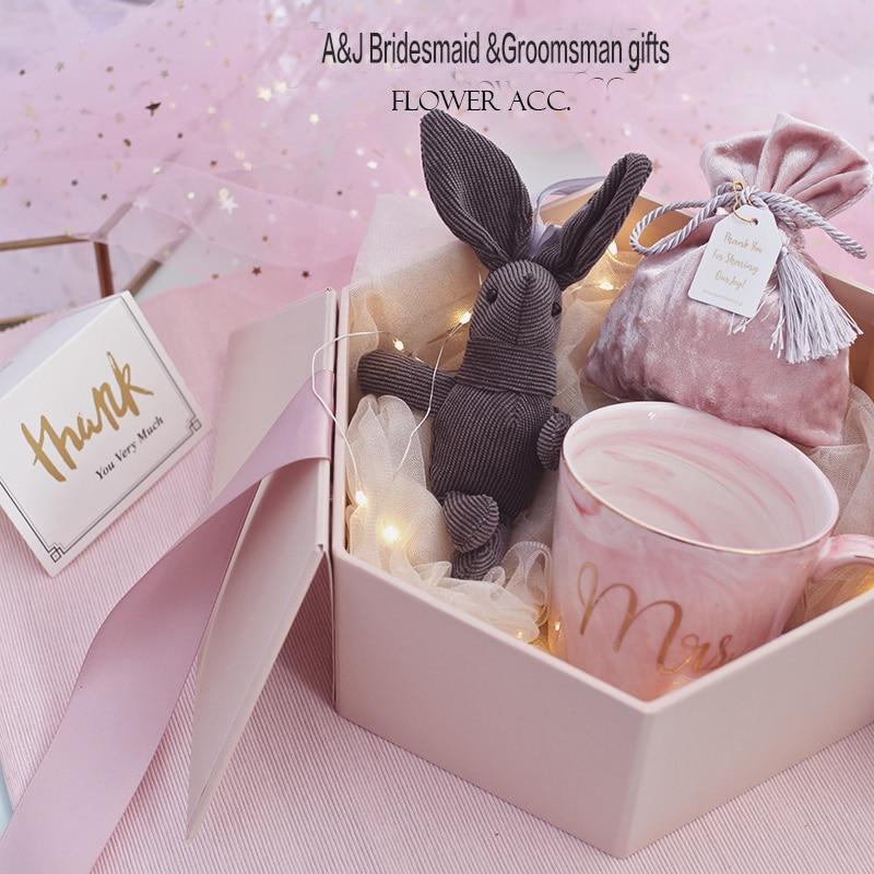 1set lot Elegant Pink dark blue box ceramic cup Rabbit setWedding Bridesmaid Groomsmen gift bridal party Birthday gifts & 1set lot Elegant Pink dark blue box ceramic cup Rabbit setWedding ...