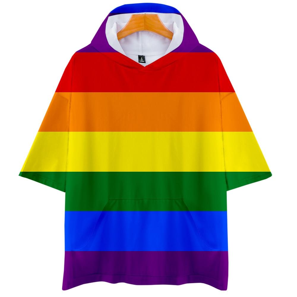 Women/Men Hip Hop T Shirt Harajuku Pride Lgbt Gay Love Lesbian Rainbow Print Hooded Tshirt Summer Short Sleeve Camiseta Feminina