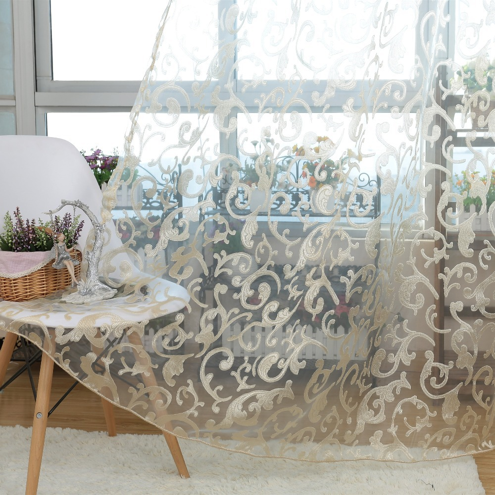 NAPEARL Rustic Floral Design Voile Sheer Cloth For Curtains Tulle Fabrics Lace Curtains