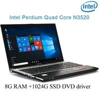 """הנייד dvd הנהג P8-04 שחור 8G RAM 1024G SSD Intel Pentium N3520 15.6"""" מחשב מחברת המשחקים הנייד DVD הנהג HD מסך עסקים (1)"""