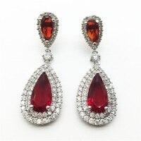 Luxury Zircon Big Waterdrop Heavy Drop Earrings Sparkling AAA Red Cubic Zirconia Fashion Bridal Wedding Party