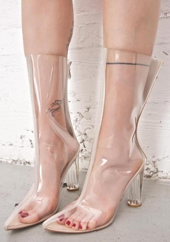 Zapatos موهير ربيع الخريف أحذية عالية الكعب مع تفاصيل السيدات واشار تو الكعوب منتصف العجل واضح البرسبيكس شفاف الأحذية الأحذية-في أحذية نسائية من أحذية على  مجموعة 1