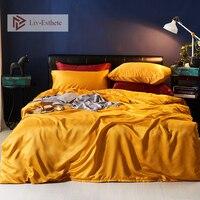 Liv Esthete Luxury Yellow Silk Bedding Set Silky Duvet Cover Flat Sheet Pillowcase Bed Linen Double Queen King For Adult
