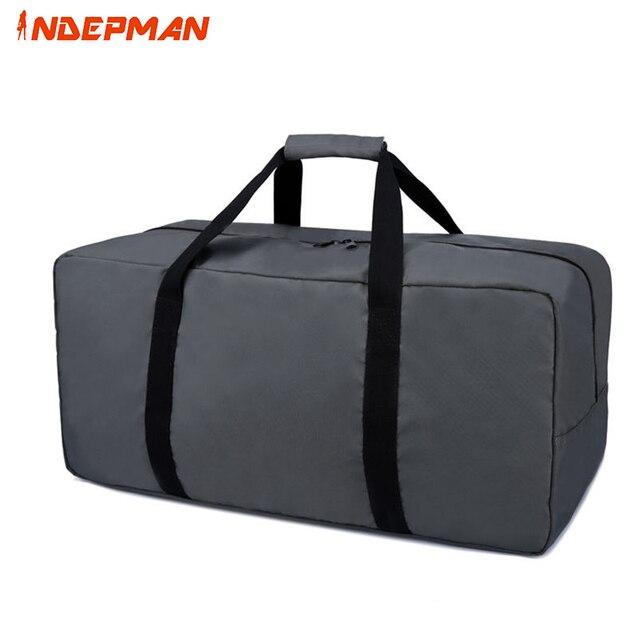2017 Fashion Waterproof Nylon Men Travel Bag Large Capacity Solid Zipper Folding Travel Luggage Women 55-60L Black M L  XL
